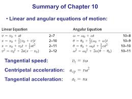 25 summary of chapter 10 linear and angular equations of motion tangential sd centripetal acceleration tangential acceleration