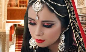 red and gold glitter stani indian asian bridal makeup tutorial you