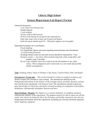 Science Report Format Science Department Lab Report Format
