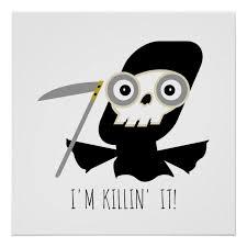 grim reaper halloween cartoon poster