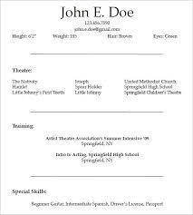 resume formats for free 10 acting resume templates free samples examples formats within