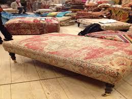 upholstered ottoman coffee table elegant rug covered ottomans pinter