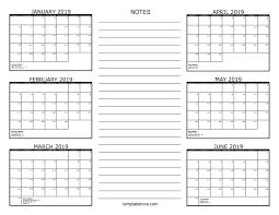 printable 6 month calendar 2019 free 6 month calendar january to june 2019 template printable