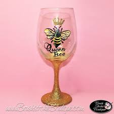 Wine Glass Decorating Designs Hand Painted Wine Glass Queen Bee Original Designs by Cathy Kraeme 95