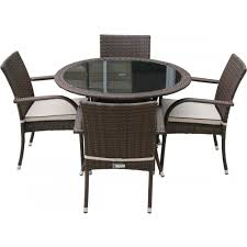 small round garden table 4 seat set in chocolate and cream ideal home show