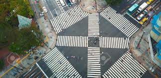 big view photography. Aerial View Of People Crossing A Big Intersection In Ginza, Tokyo, Japan Stock Photo Photography