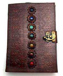 chakra embossed leather journal