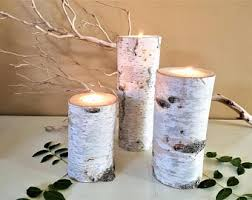 3 Tall Birch Candle holders, Birch tree candles, Birch logs, Wedding candles ,