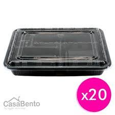 Grossiste bento | Boîtes à Bento Jetables Noirs x 20 avec Couvercles ...