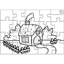Disegno Di Puzzle Di Fattoria Da Colorare Per Bambini