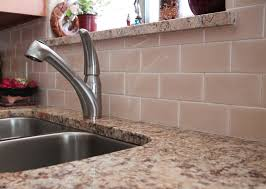 Granite Kitchen Tiles Peach Subway Tile Backsplash With Light Cream Granite Countertops