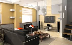 Yellow Wall Living Room Decor Yellow Wall Paint In Modern Home And White Pendant Lamp Also Black