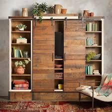 Reclaimed Wood Sliding Door Media Wall Cabinet | Robert Redford's ...