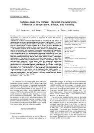 Portable Peak Flow Meters European Respiratory Journal