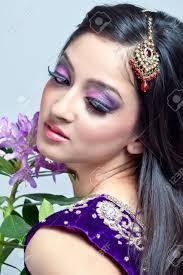 beautiful indian woman with bridal makeup closeup shot stock photo 9055028