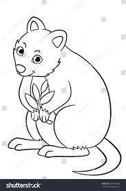 Small Picture Coloring Pages Little Cute Quokka Holds Stock Vector 501485668