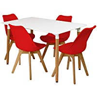 Red dining table set Glass Dining Charles Jacobs Rectangular Dinner Table Set With Dining Chairs Choice Of Colour Red Amazon Uk Amazoncouk Red Dining Room Sets Dining Room Furniture Home