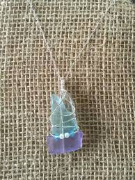 wire wrapped recycled glass pendant. Wire Wrapped Recycled Glass Sea By MermaidsDesignStudio Pendant