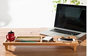 wooden desk organizer computer diy bamboo keyboard