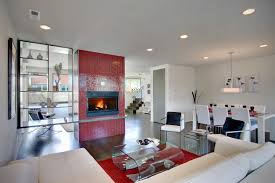 brio clear red glass mosaic tile 3 4 fireplace installation
