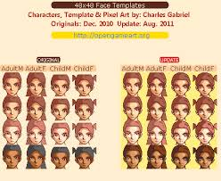 Pixel Character Template 48x48 Face Template Opengameart Org