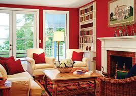 Interior How to Affects Your Mood using Room Color: Awesome Red Living Room  Colors With White Couch Cushion Wooden Coffee Table Fireplace Floor Lamp ...