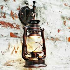 2018 antique copper vintage lantern lamp retro wall lamp kerosene lamps for bar coffee corridor home portable lamps outdoor led wall light from flymall
