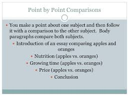 patterns chapter compare contrast subject by subject  point by point comparisons you make a point about one subject and then follow it