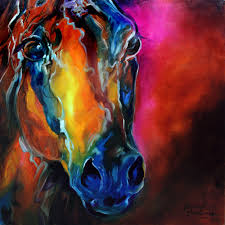 allure arabian abstract horse equine art original oil painting by marcia baldwin