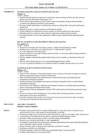 Learning Development Specialist Resume Samples Velvet Jobs