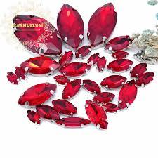 <b>30pcs</b> 8 sizes Popular! <b>MIX</b> red <b>Horse</b> eye Size Crystal Glass Sew ...