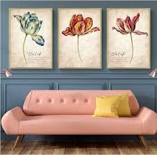 <b>3PCS Set</b> Nordic Tulip <b>Vintage</b> Painting Wall Art Canvas – Lewe ...