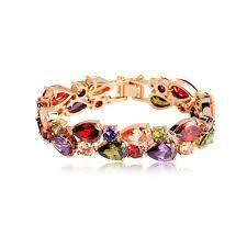 <b>BISAER High Quality</b> Rose Gold Color Mona Lisa Zircon Bracelet for ...