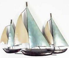 >metal wall art sailing boats beach house accessories  wall art metal modern decor home sculpture contemporary hangings 3 sailing boats