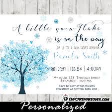 Snowflake Baby Shower Invitations Snowflake Baby Shower Invitations Ice Blue Winter Tree