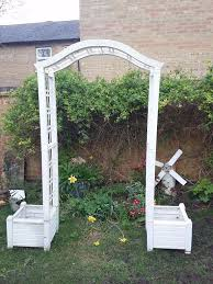 white garden arch with planters inspirational white keter garden arch archway with two planters and