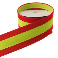 ... red and green striped Christmas ribbon