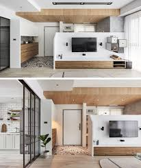 apartment home office. This Modern Apartment Has A Pony Wall In The Living Room, That Divides  Open Home Office
