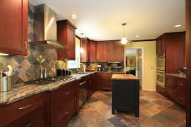Cherry Cabinet Kitchens Matching Kitchen Cabinets Flooring And Countertops Cliff Kitchen