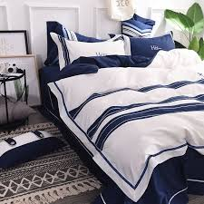attractive royal blue white stripe embroidery bedding set 2 600x600 attractive royal blue white