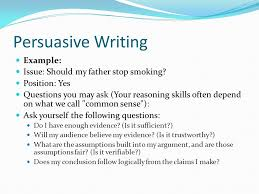 persuasive writing the basic principles of persuasive writing  persuasive writing example issue should my father stop smoking