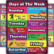 Days Of The Week Chart Days Of The Week Lamintated Educational Chart Fun Poster For Kids And Teachers W