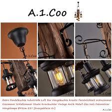 Retro Pendelleuchte Industrielle Loft Bar Hängeleuchte Kreativ Persönlichkeit Wohnzimmer Aus Holz Und Metall Pendellampe Höhenverstellbar E27