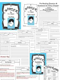 wonder by r j palacio novel study everything you need chapter questions voary writing activities bulletin board idea and more grades 5 7