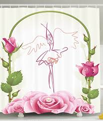shower curtains for s bathroom decorations ballet dancer gifts for ballerinas dance of fairy wings theme gazebo roses flowers with fl buds decor