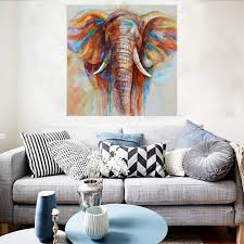 32 32 hand painted oil painting elephant unframed canvas wall picture wall decoration paintings beautiful room decoration 80 80cm painting home decoration