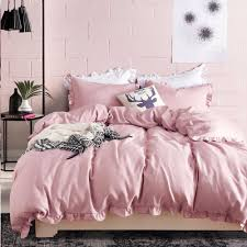 romantic pink bedding set elegant ruffles edge duvet cover set bed linen quilt cover twin queen king wedding gift canada 2019 from huojuhua