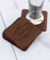 love this product emblem personalized leather coaster set of six