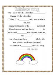 colors of the rainbow worksheet. english worksheets: rainbow color song colors of the worksheet