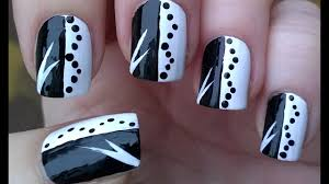 Cool Nail Designs With Black And White Black White Monochrome Nail Art Design For Beginners Diy Easy Nails Tutorial